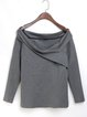 Casual Plain Bateau/boat Neck Cotton Long Sleeved Top