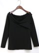 Bateau/boat Neck  Casual Cotton Long Sleeved Top