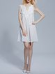 White Crocheted Sleeveless H-line V Neck Girly Mini Dress
