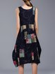Navy Blue Scoop Neckline Sleeveless Printed Midi Dress