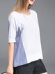White Crew Neck Spandex Paneled Short Sleeve T-Shirt