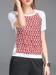 White Cotton Floral-print Short Sleeve Crew Neck T-Shirt