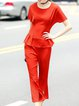 Ruched Two Piece Crew Neck Casual Jumpsuits