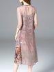 V Neck 3/4 Sleeve Silk-blend Casual Two Piece Midi Dress