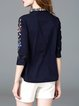 Casual Long Sleeve Shift Cotton Embroidered Blouse