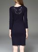 Silk Sheath Embroidered Elegant Long Sleeve Midi Dress