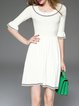 Cream A-line Elegant Knitted Sweater Dress