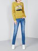 Yellow Long Sleeve Floral Print Knitted Sweater
