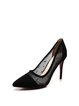 Black Stiletto Heel Split Joint Suede Heels