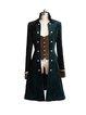 Velvet Long Sleeve Buttoned Slit Stand Collar Coat