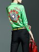 Green Long Sleeve V Neck Floral-print Blouse