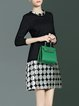 Black Polka Dots Crew Neck A-line Elegant Mini Dress