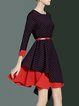 Red Polka Dots Long Sleeve Midi Dress With Belt