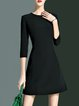 Simple 3/4 Sleeve Crew Neck Plain Mini Dress