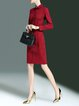 Black Long Sleeve A-line Shirt Collar Cotton-blend Midi Dress