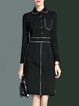 Black Long Sleeve A-line Shirt Collar Cotton-blend Midi Dress