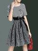 Crew Neck Short Sleeve A-line Bow Stripes Mini Dress