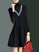 Turtleneck Polyester Gathered Simple Long Sleeve Mini Dress