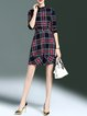 Multicolor Stand Collar Cotton-blend Printed Vintage Mini Dress