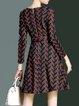 Dark Blue Cotton-blend Crew Neck Long Sleeve Printed Mini Dress