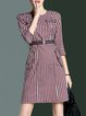 A-line Crew Neck 3/4 Sleeve Elegant Midi Dress with Belt
