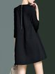 Black Plain Simple A-line Mini Dress