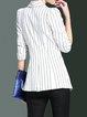 White 3/4 Sleeve A-line Lapel Stripes Blazer