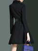 Plain Long Sleeve Simple Shirt Collar Zipper A-line Mini Dress