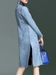 Blue Polyester Lace Paneled Slit  A-line Long Sleeve Coat