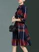 Plaid Cotton-blend 3/4 Sleeve Shirt Dress With Belt