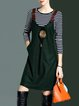 Dark Green Stripes Wool Blend Casual Two Piece Midi Dress With Brooch