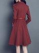 Folds V Neck Polka Dots Printed 3/4 Sleeve Casual Midi Dress