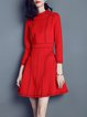 3/4 Sleeve Color-block Casual Cotton-blend Stand Collar Mini Dress