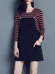 Stripes Printed H-line Casual Crew Neck 3/4 Sleeve Mini Dress