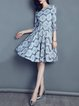 Geometric Guipure Lace Elegant 3/4 Sleeve Crew Neck Midi Dress