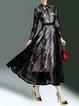 Swing Elegant Lace Paneled Long Sleeve Maxi Dress