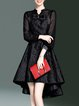 Bow High Low Stand Collar Elegant Party Dress