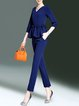 Blue 3/4 Sleeve V Neck Two Piece Ruffled Jumpsuit