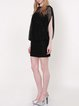 Black H-line Lace Plain Short Sleeve Mini Dress