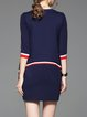 Navy Blue 3/4 Sleeve Paneled Stripes Mini Dress