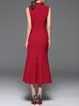 Wine Red Mermaid Sleeveless Midi Dress