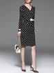 Black Sheath Elegant Polka Dots V Neck Midi Dress