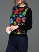 Multicolor Crew Neck Floral-print Knitted Long Sleeved Top