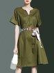 A-line Shorts Sleeve Simple V Neck Cotton Midi Dress