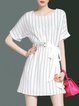 Casual Shorts Sleeve Stripes Midi Dress