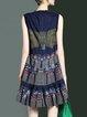 Blue Sleeveless Cotton Shift Embroidered Midi Dress
