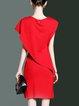 Sheath Shorts Sleeve Elegant Solid  Midi Dress