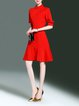 Red Casual A-line Midi Dress