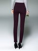 Simple Cotton-blend Solid Symmetric Straight Leg Pants