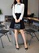 White-black Paneled A-line Long Sleeve Midi Dress